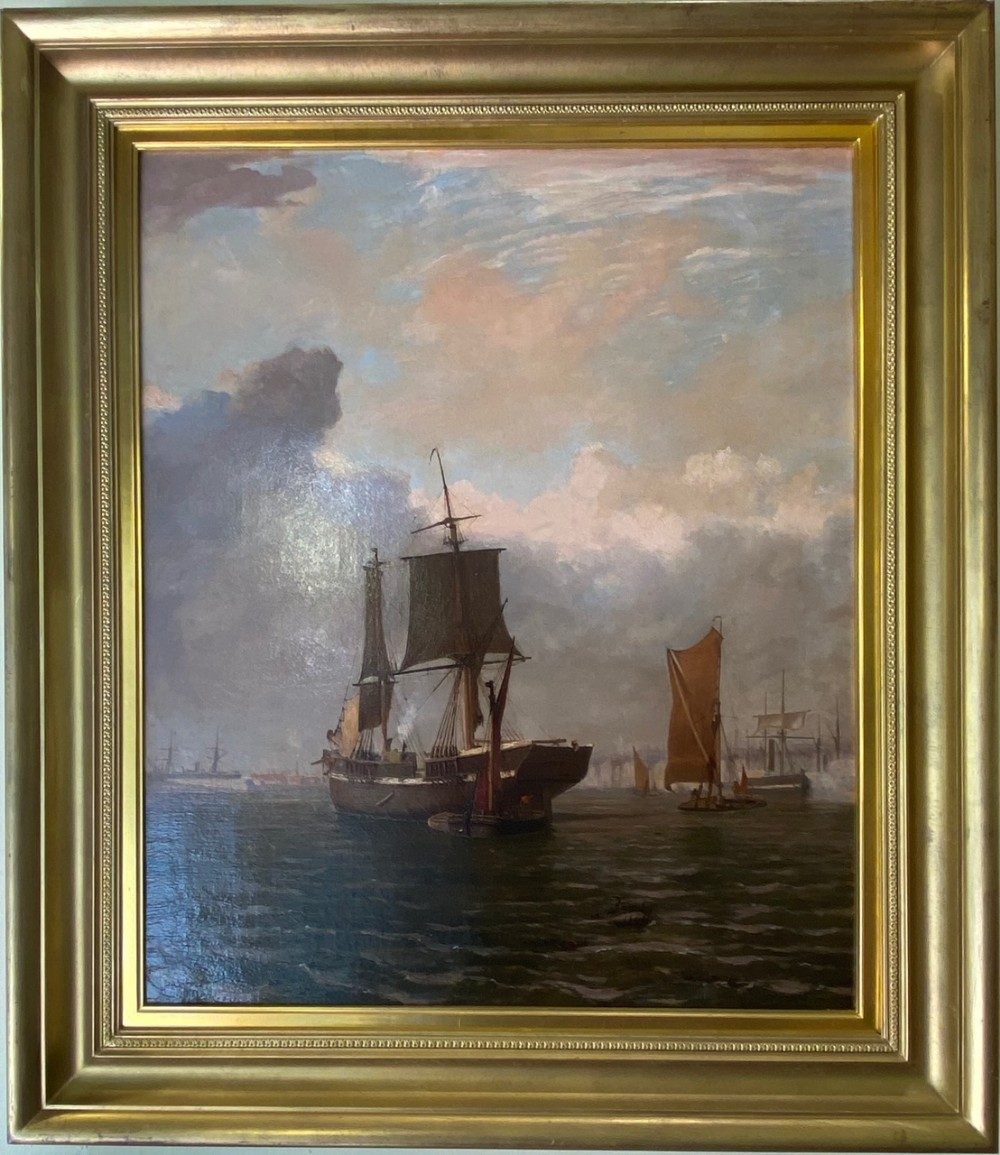 oil on canvas entitled a busy harbour by william r wells 18601880