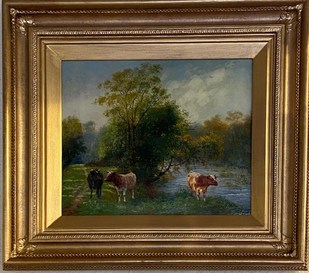 oil on canvas cattle grazing by wilson hepple 18541937