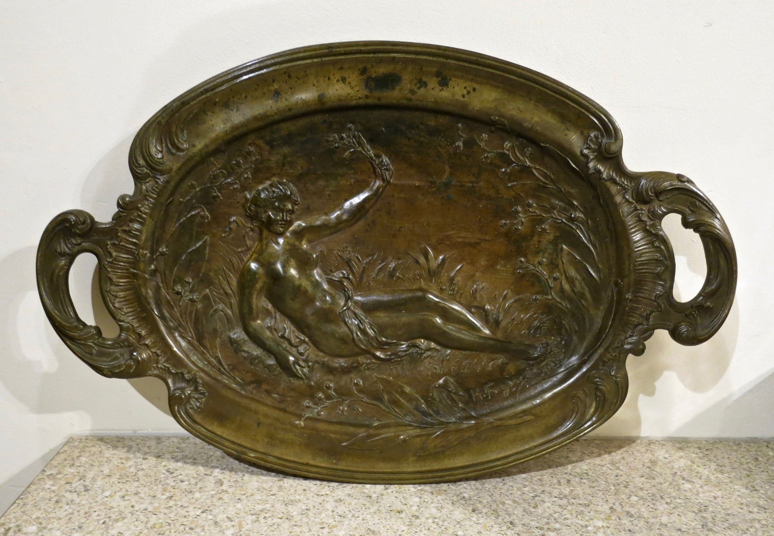 an interesting and large french bronze dish