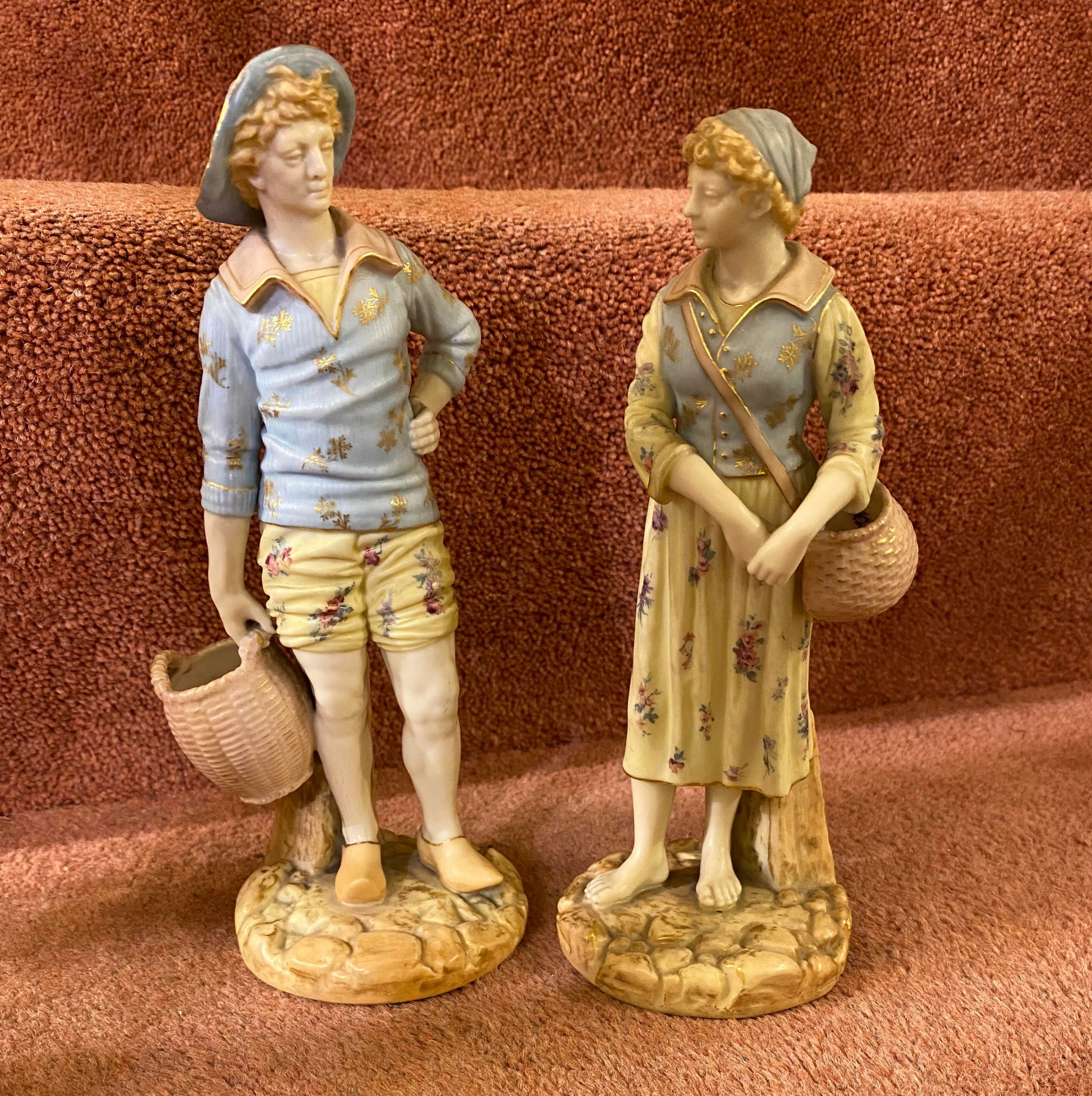 a good pair of royal worcester figures by james hadley dated 1895