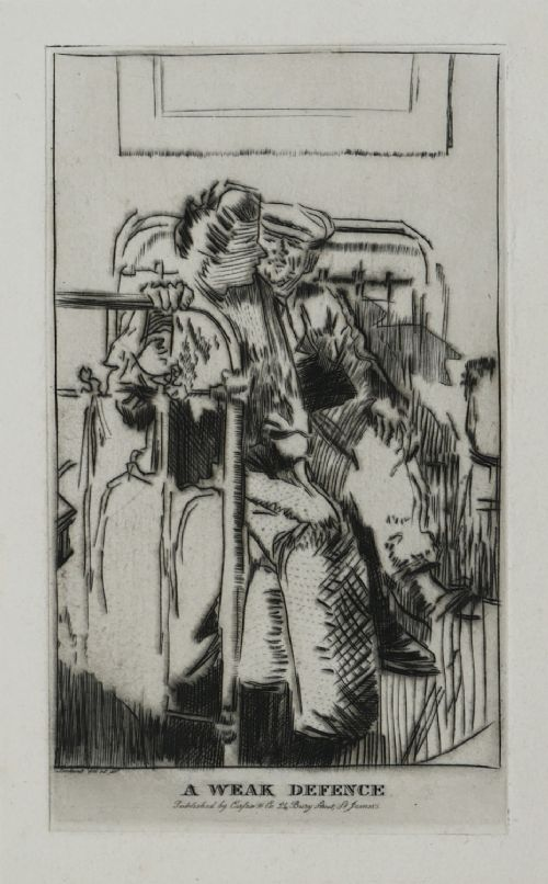 etching by walter richard sickert a weak defence the small plate