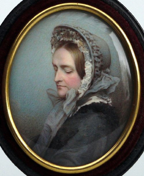 an important and historical portrait miniature in watercolour of the wife of george richmond ra painted c1868