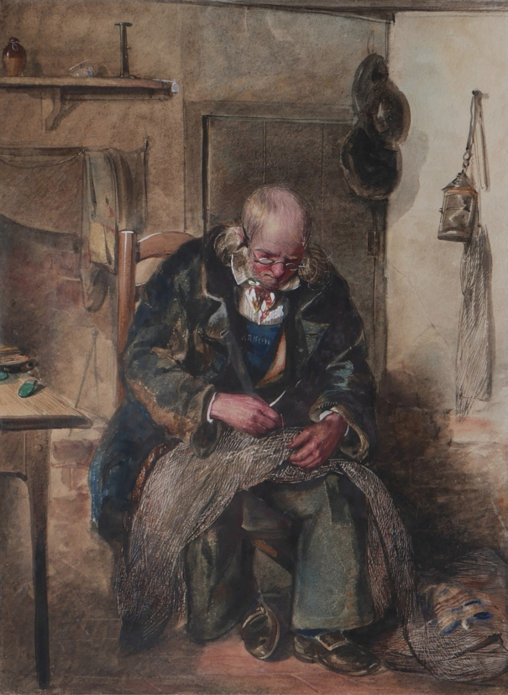 a fine watercolour attributed to william henry hunt 17901864 a fisherman mending nets painted c1830