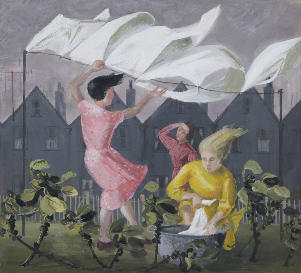 modern british school 1950's hanging out the washing on a blustery day