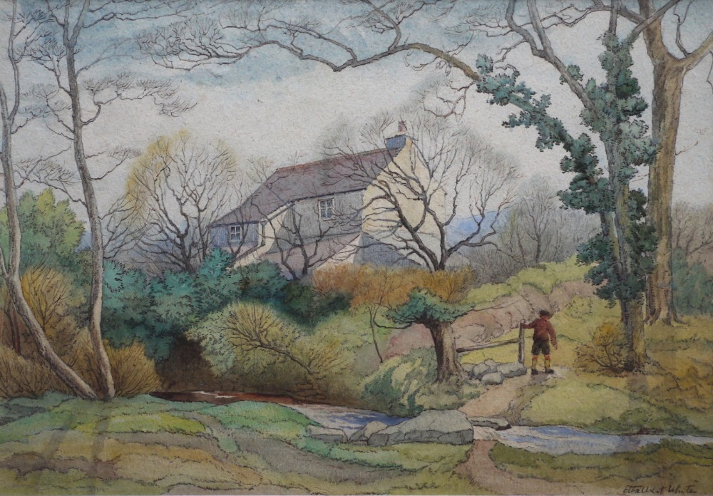 ethelbert white watercolour a woodland cottage c192030