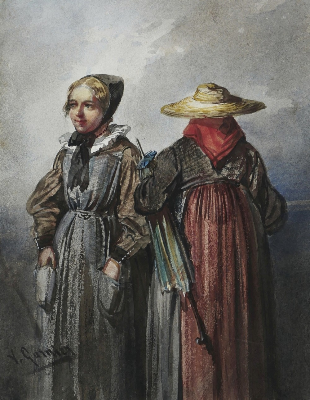 19th century watercolour clergywomen by victor alexandre humbert garnier
