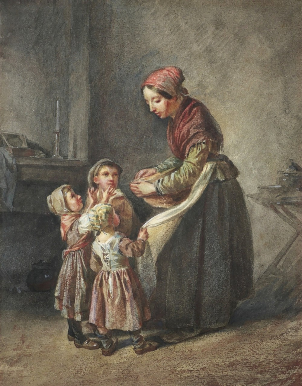 19th century watercolour a midday treat by victor alexandre humbert garnier