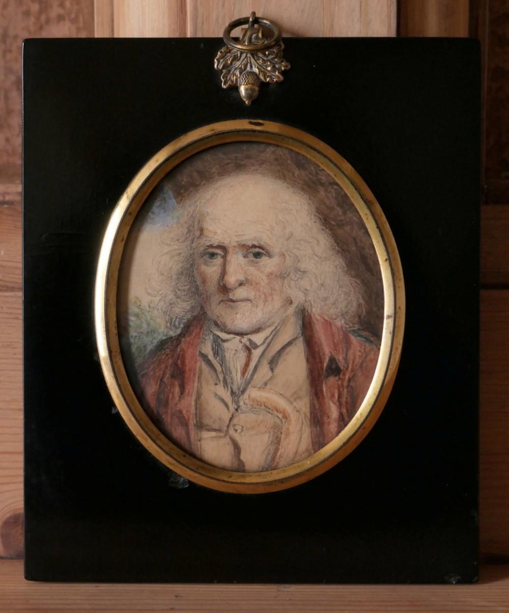 a fine portrait miniature of an elderly gentleman circle of john linnell 17921882