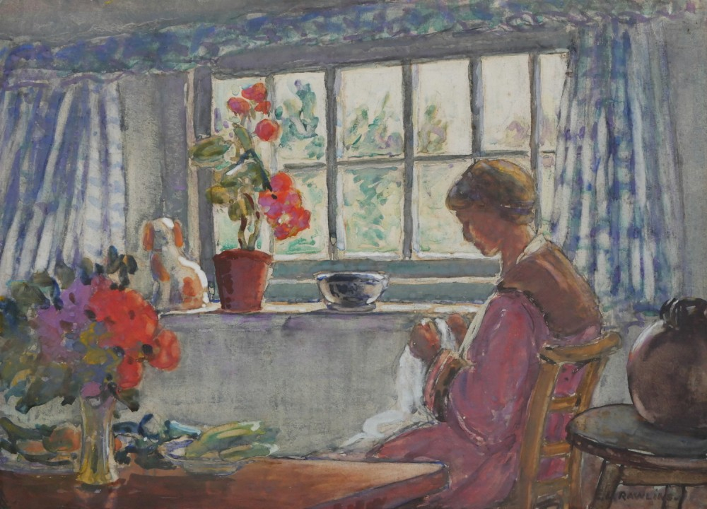 at the cottage window watercolour by ethel louise rawlins c1920