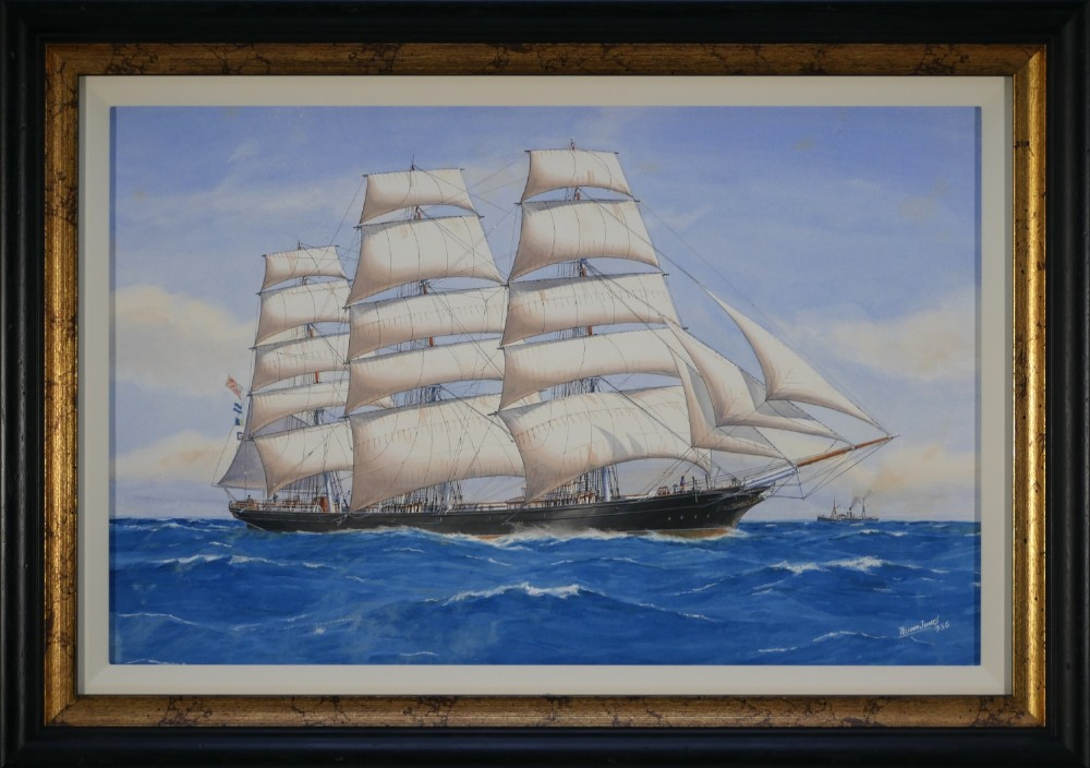 watercolour of the cutty sark signed and dated 1936 by pelham jones c1890c1950 as rigged when in australian wool trade