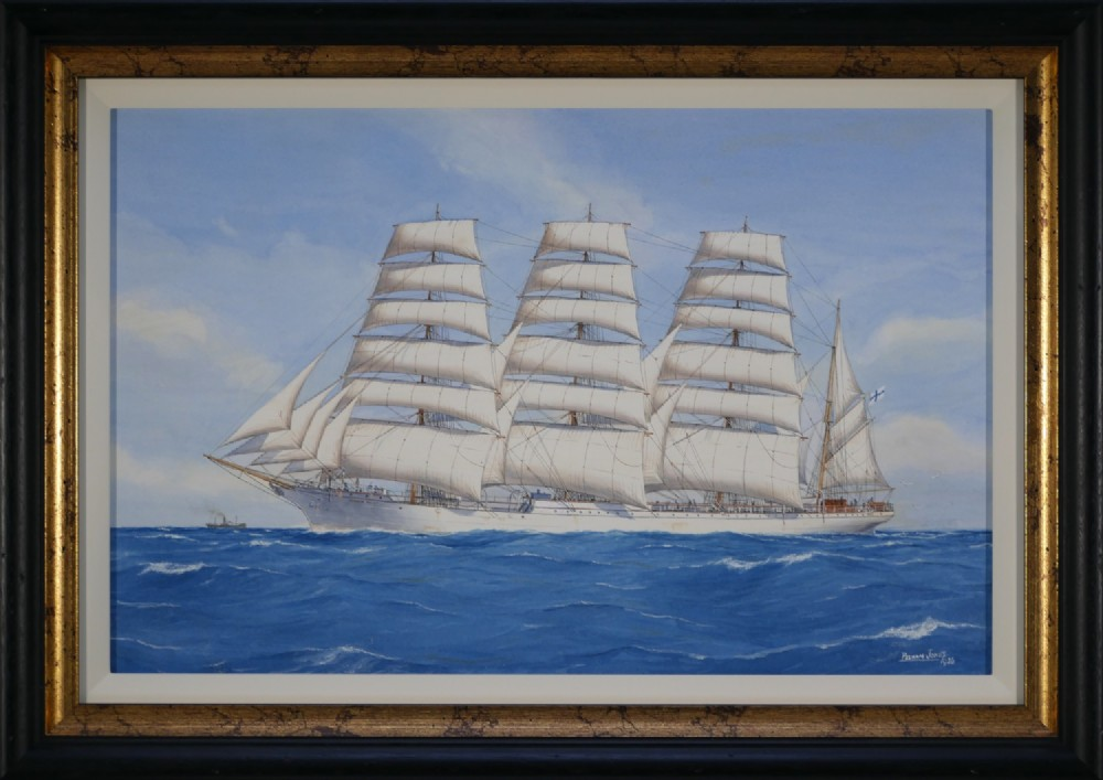 watercolour signed and dated 1936 by pelham jones c1890c1950 'herzogin cecilie' under finnish flag
