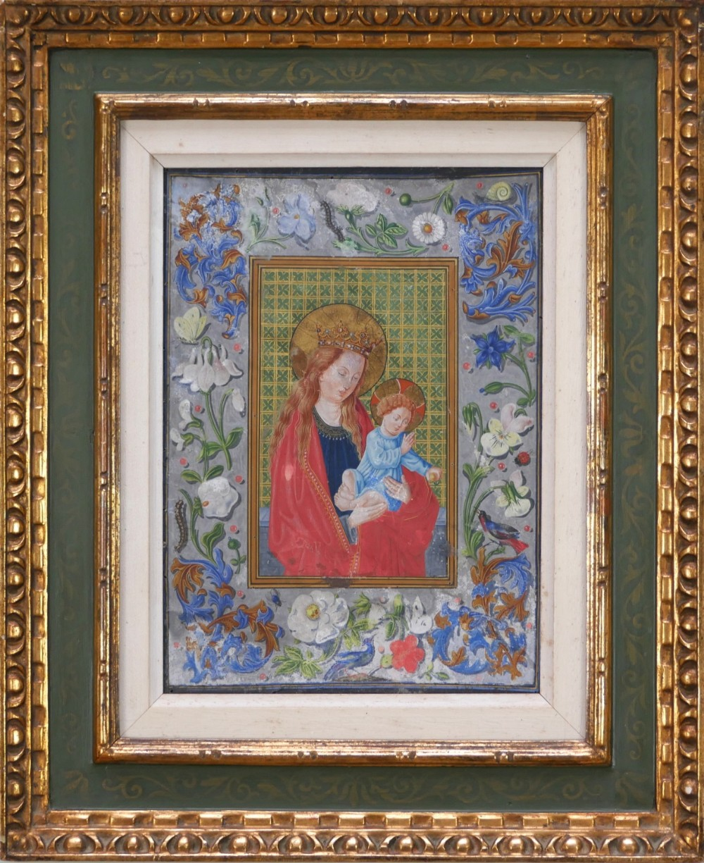 probably 19thc the virgin mother and child a copy from a page of a 15thc illuminated manuscript