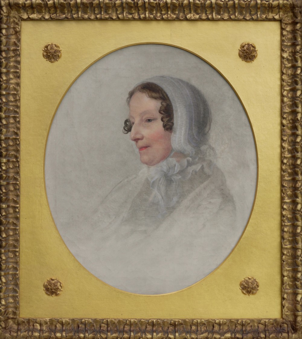 portrait head of a lady wearing a cap british c1830 oil on canvas