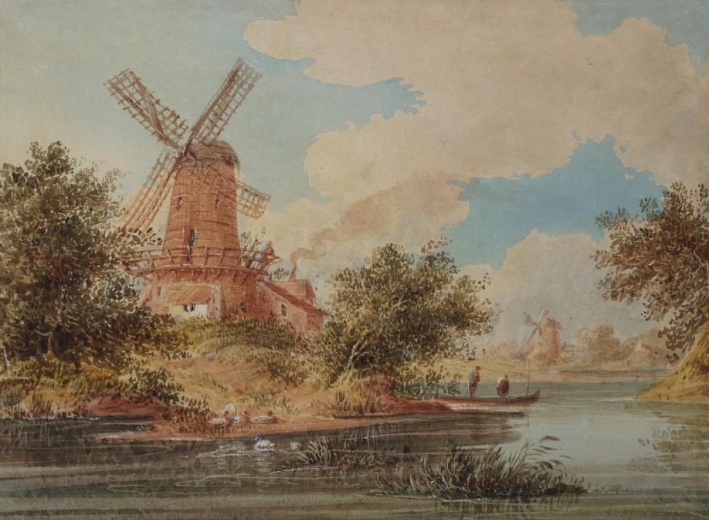 mill at dort holland watercolour british school c1850