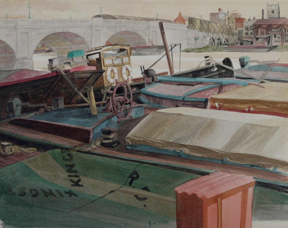 watercolour thames wharf 1939 by sydney charles upton