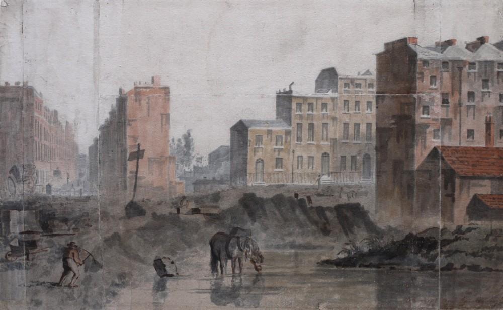 london c1816 watercolour by john nixon terraces at regents park