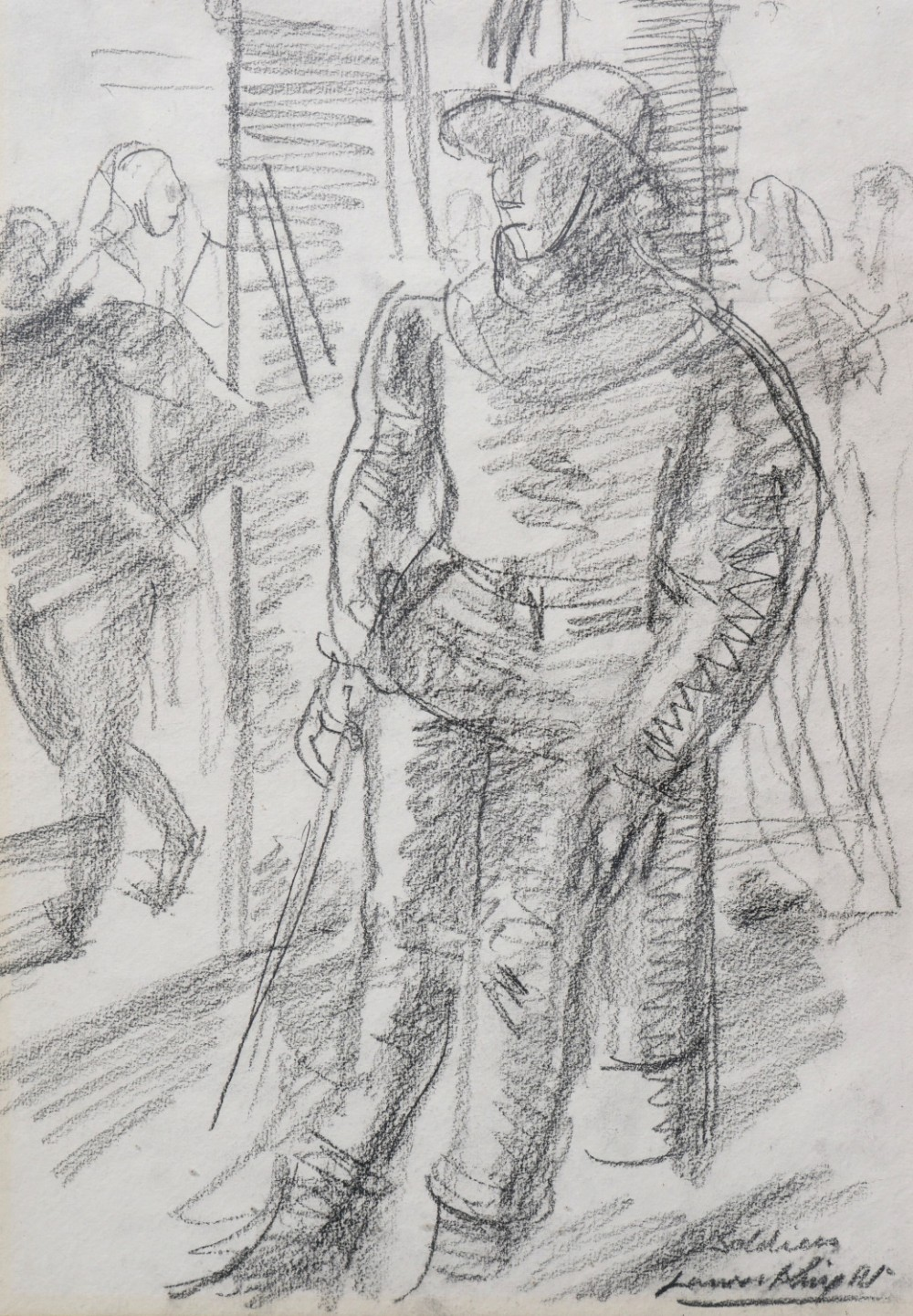 drawing by laura knight 'soldiers' 1953