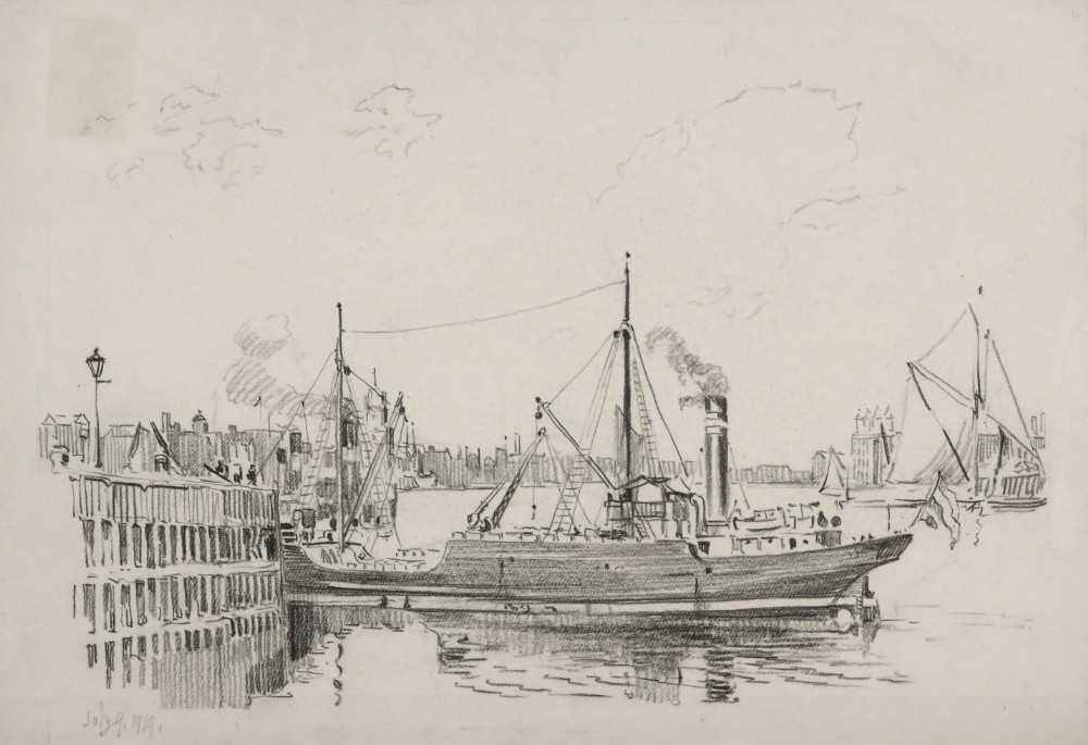 chalk drawing by william monk 1863 1937 steam trawler on the thames 1919
