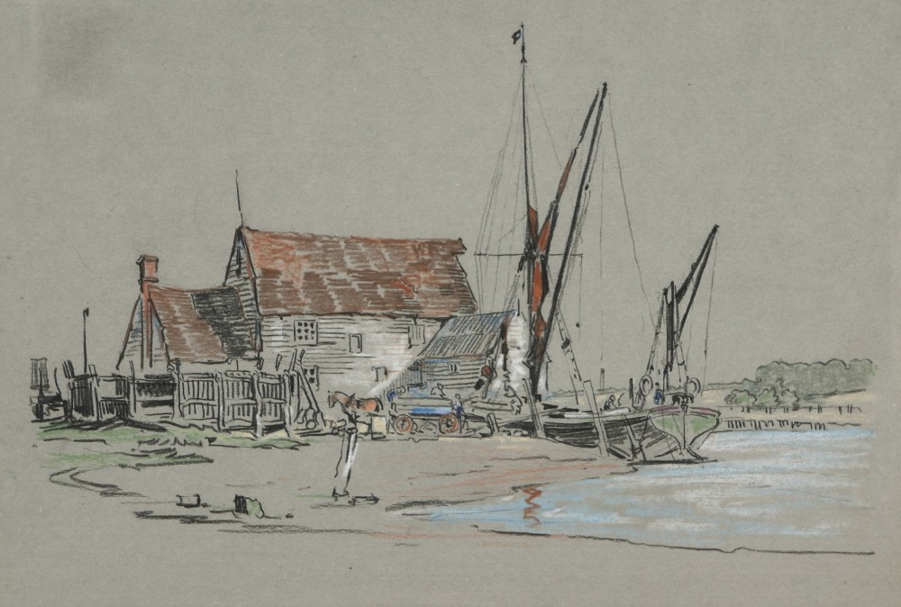 chalk drawing by william monk 1863 1937 loading timber circa 1920