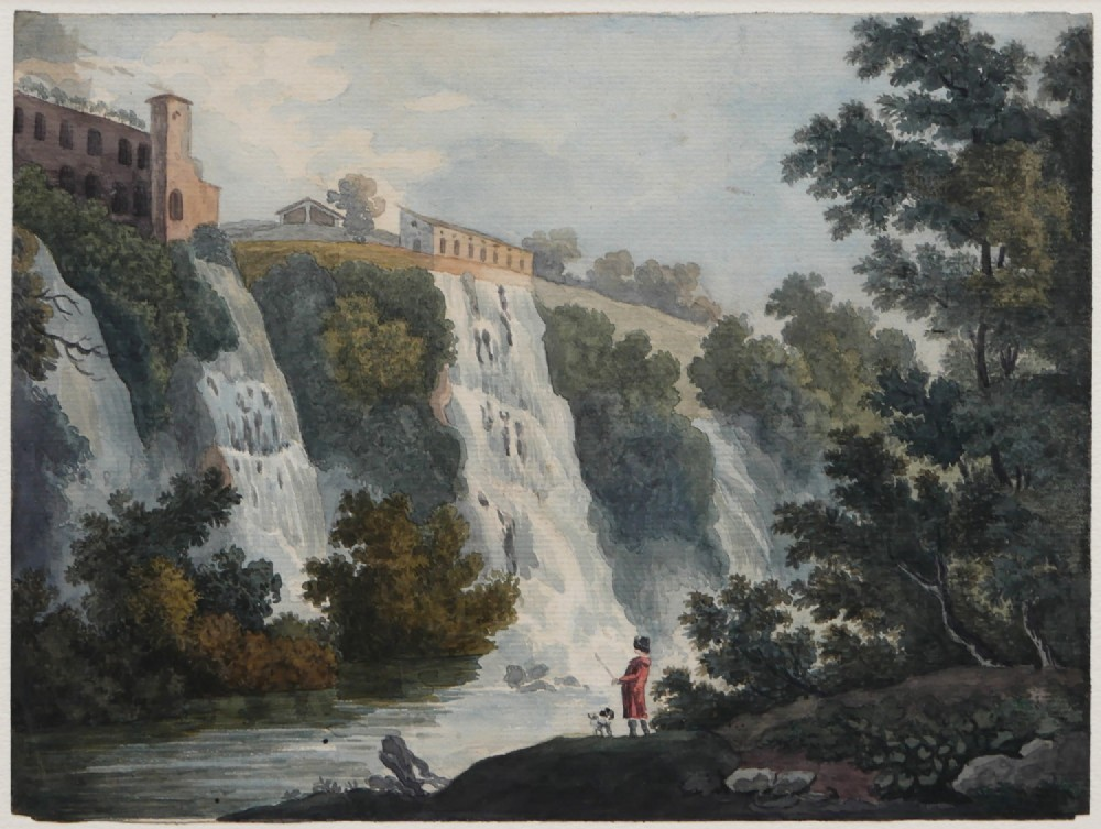 watercolour by an anonymous artist grand tour 18th early c19th the waterfalls at tivoli