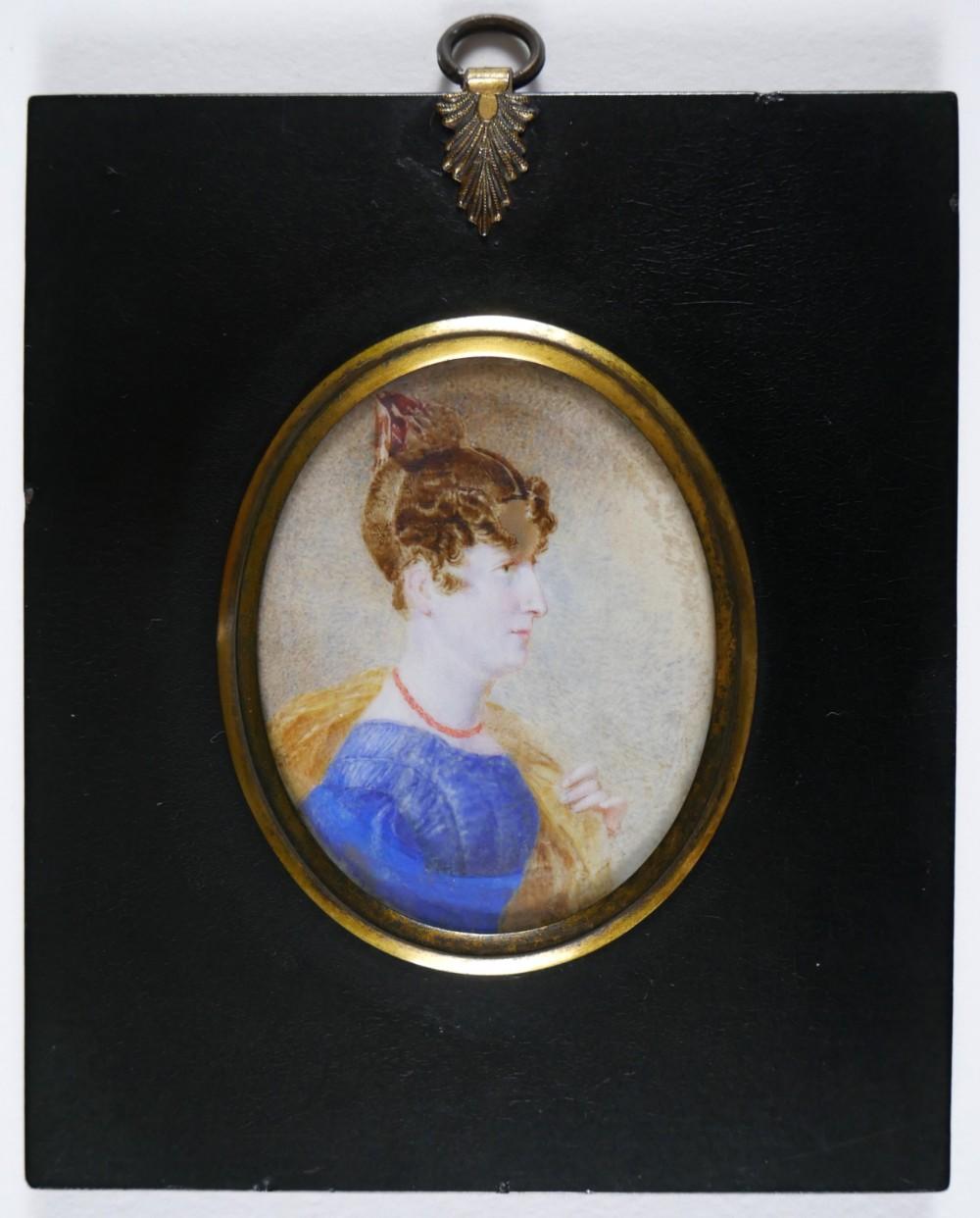 regency portrait miniature of a lady c1820