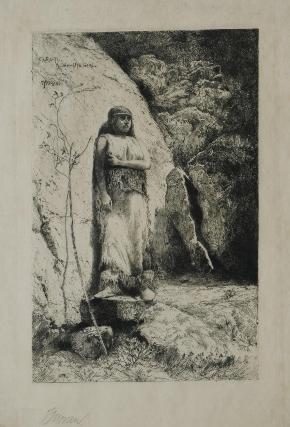 thomas moran american 18371926 a pahute girl 1879 etching print