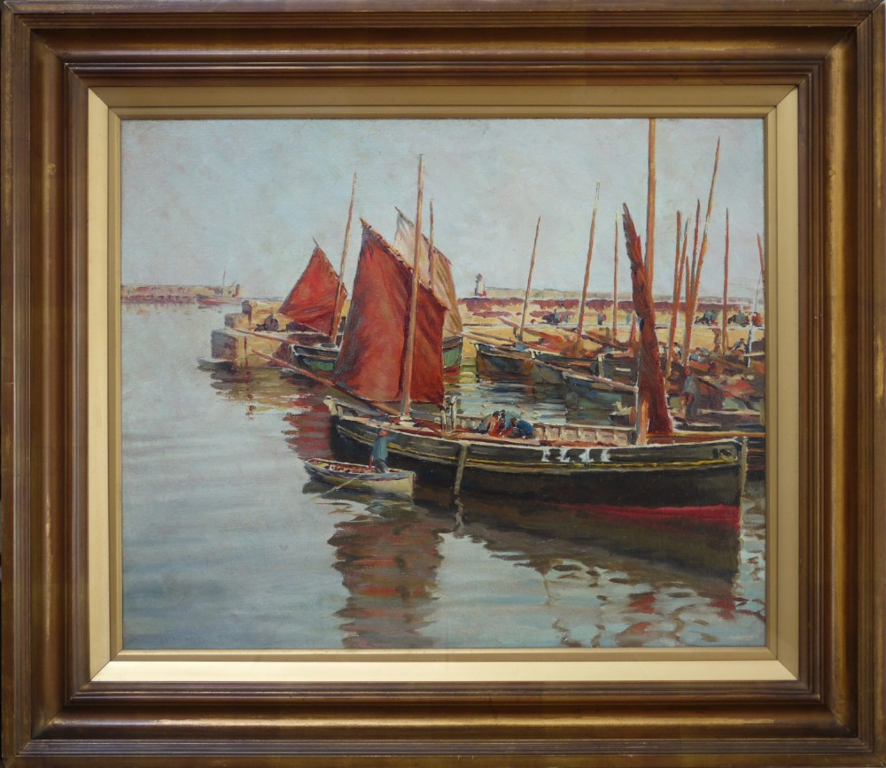 large oil painting c1900 of fishing boats at newlyn harbour