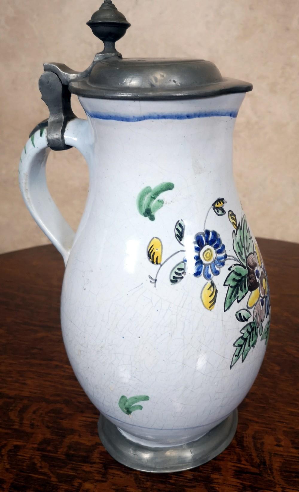 eighteenth century german delft and pewter jug