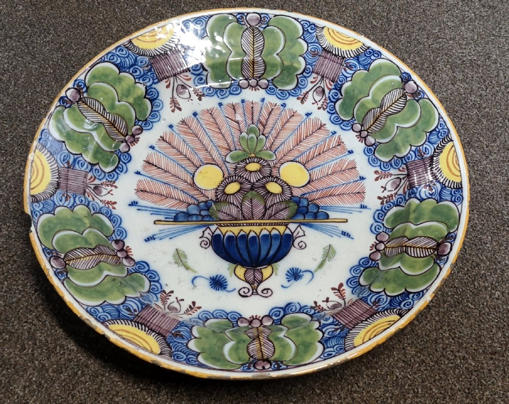 18th century delft polychrome charger
