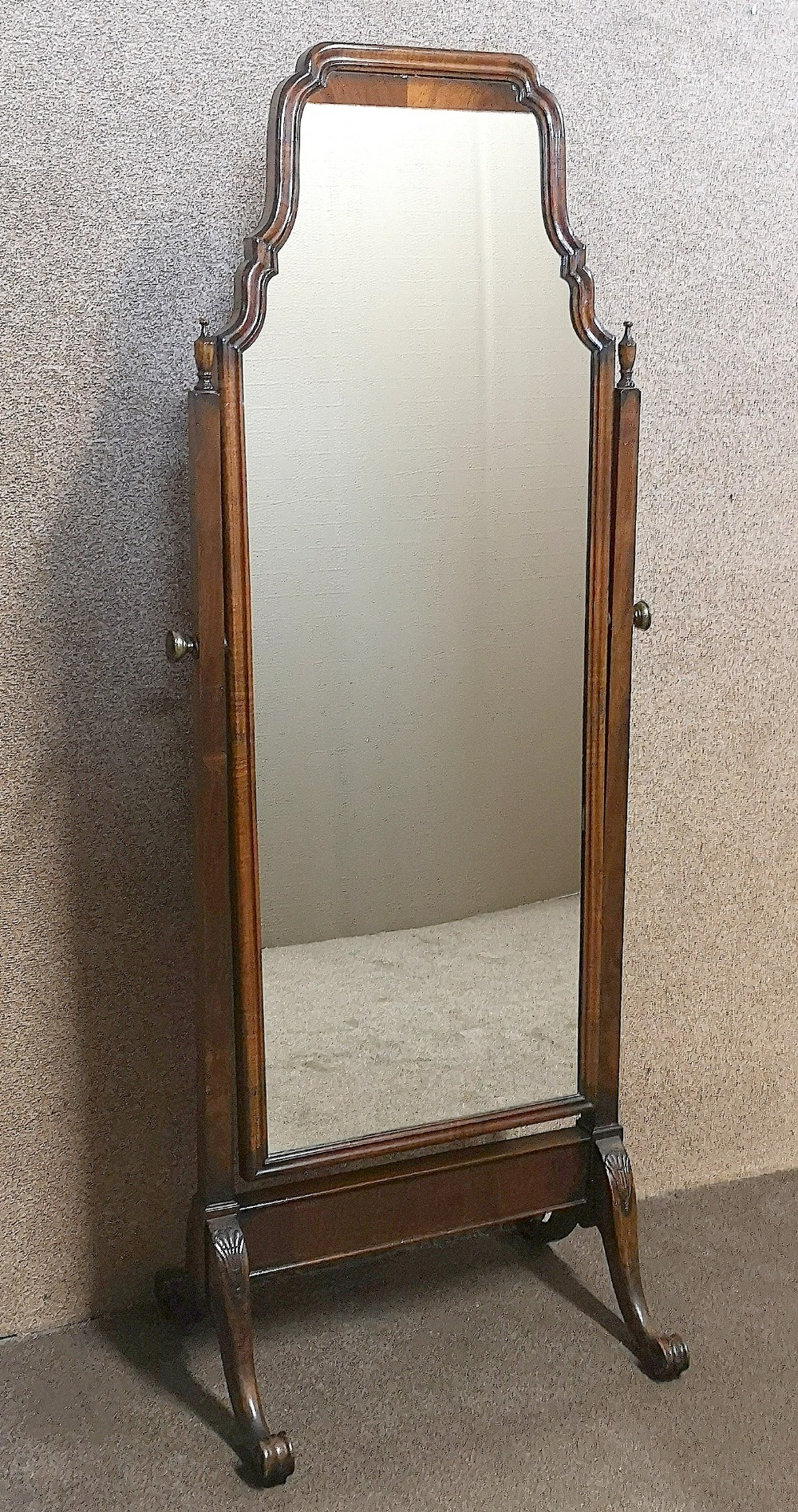 edwardian mahogany queen anne style cheval mirror