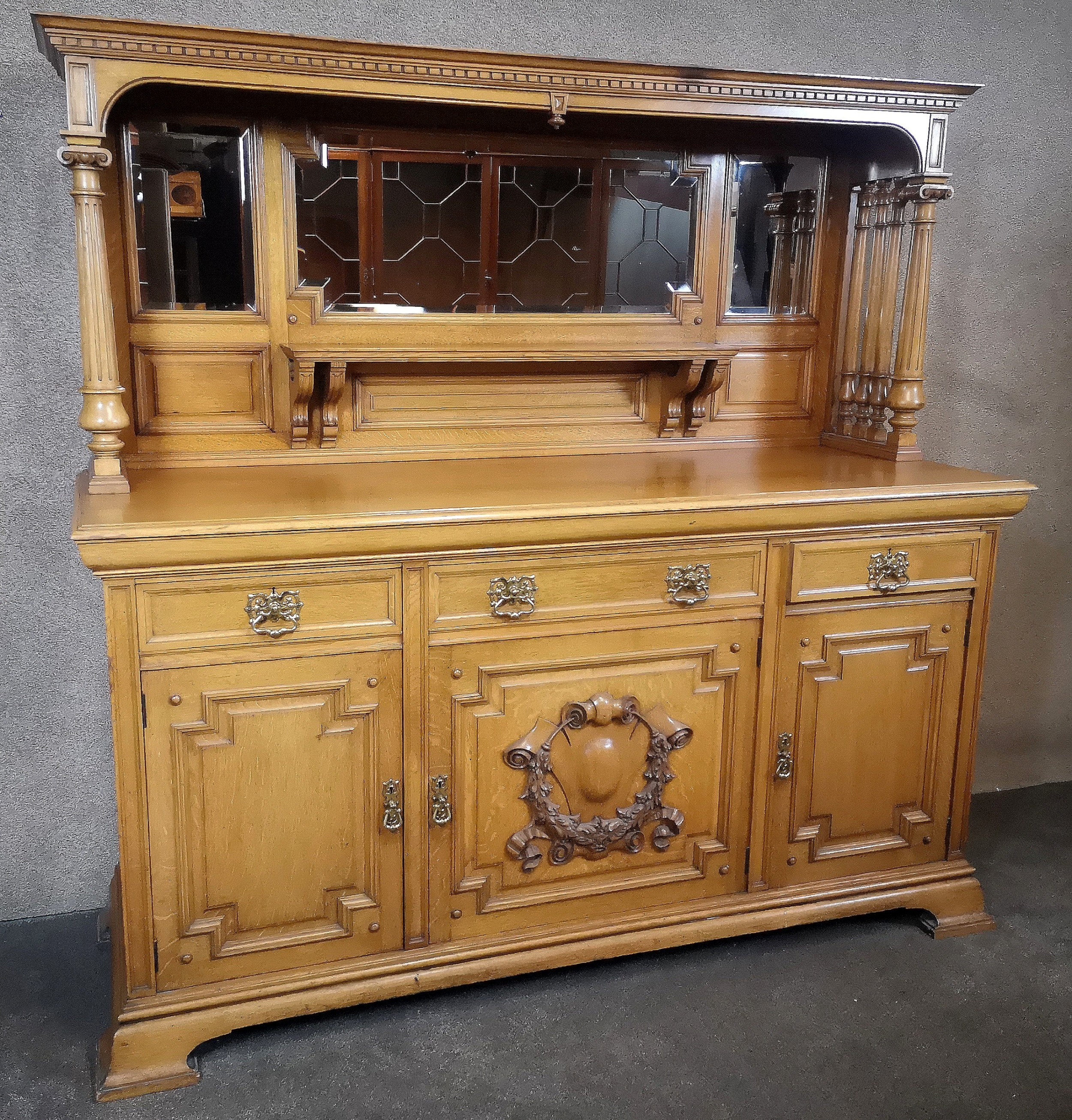 large impressive edwardian light oak mirror back sideboard by maple co
