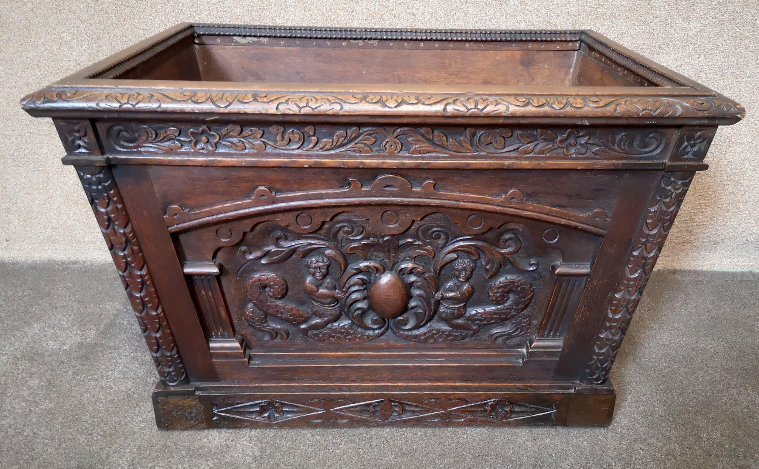 victorian carved oak wine cooler planter