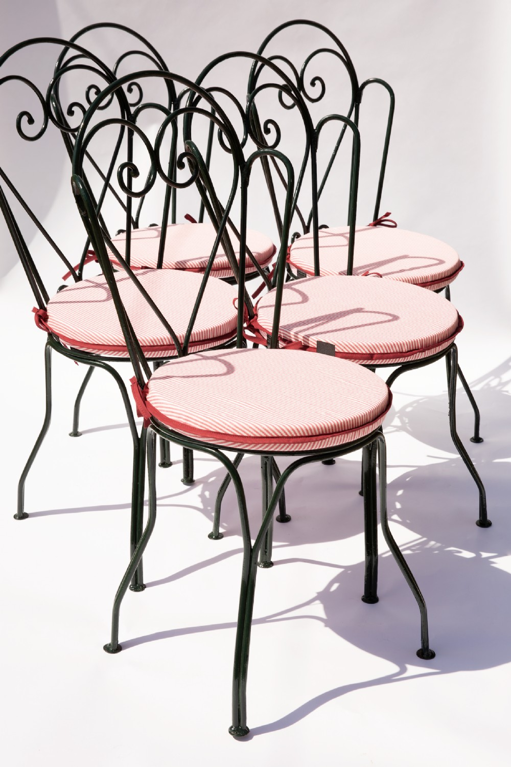 set of five handforged french garden chairs ca 1935