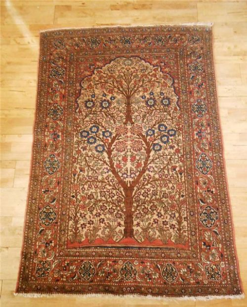 Prayer Rug Company: Isfahan Prayer Rug, Central Persia, Tree Of Life Design