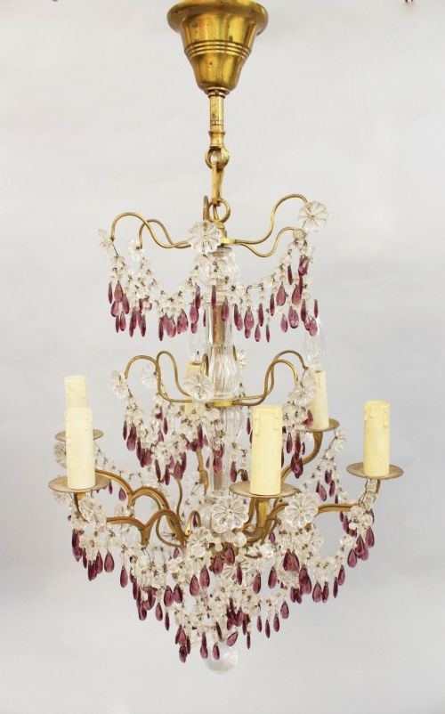 antique french cut amethyst glass clear glass chandelier