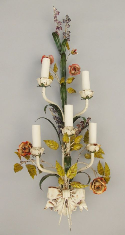 pretty french toleware floral wall light sconce