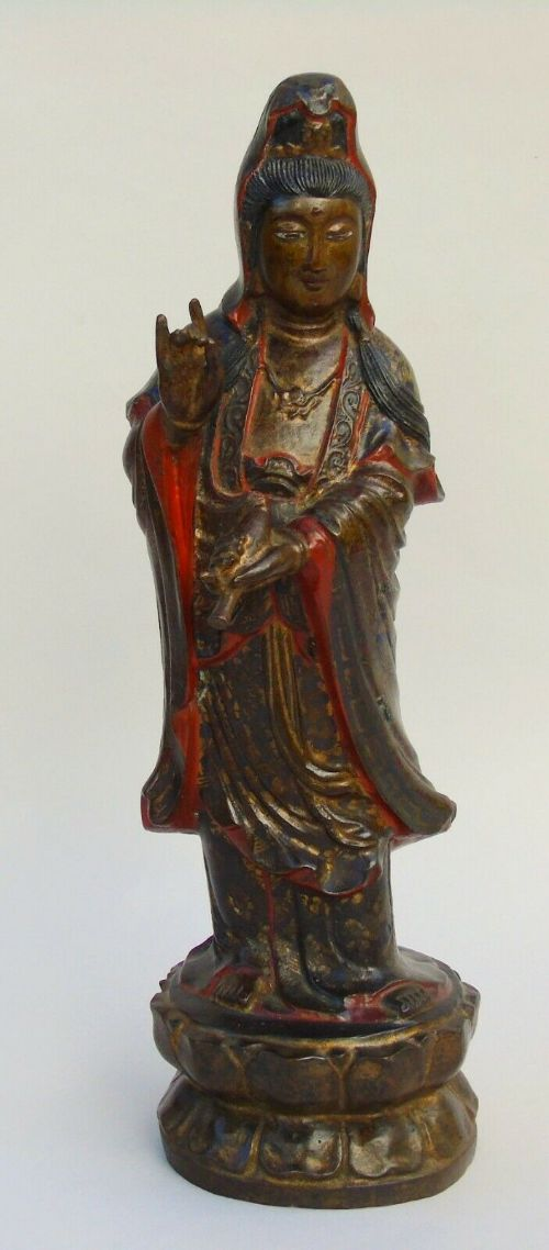 antique hand painted bronze of guanyin