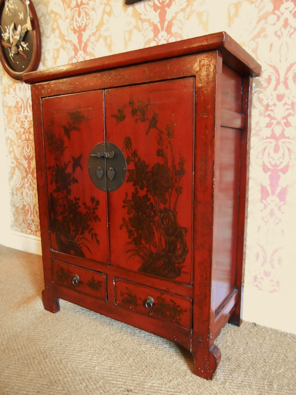 Late 19th Century Chinese Elm Cabinet In Red Lacquer | 302125 ...