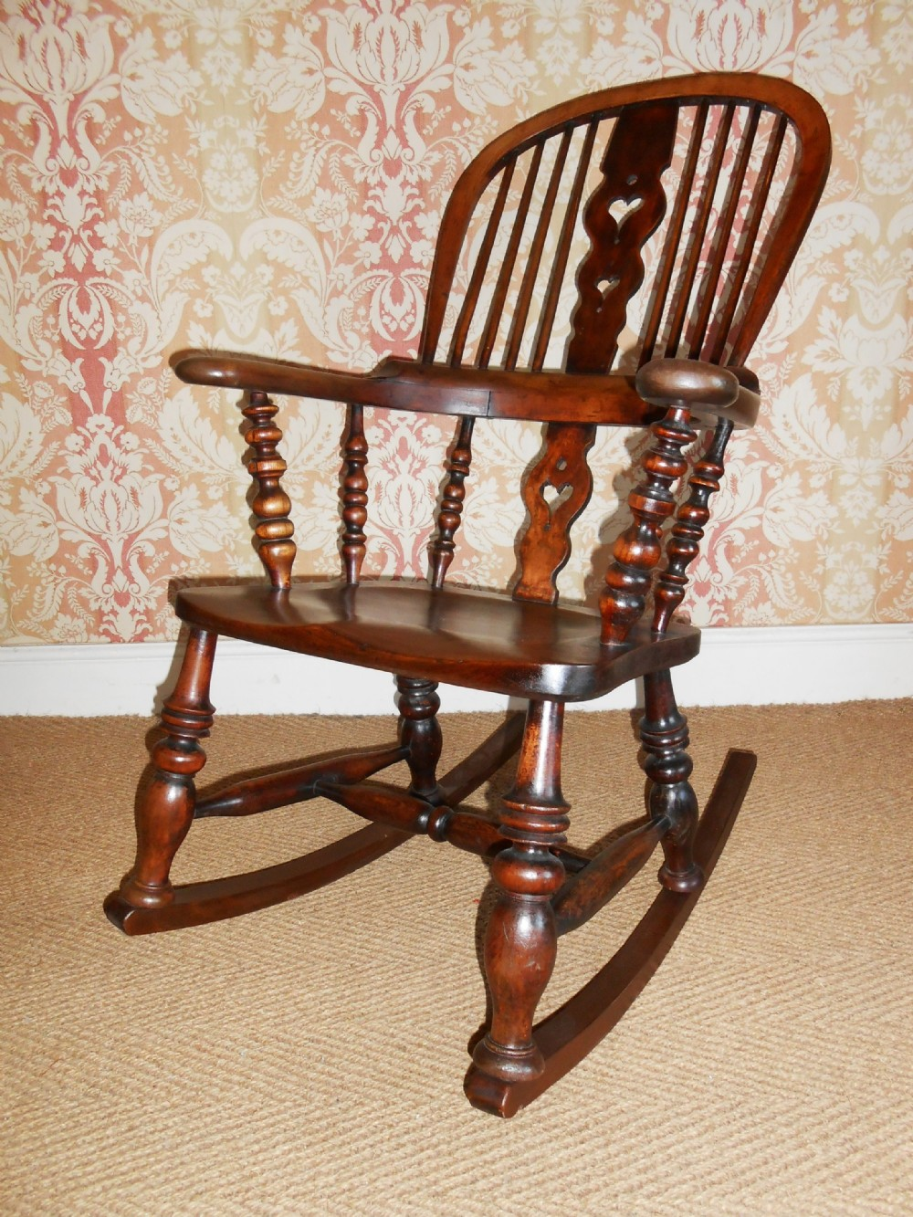 victorian high back windsor rocking chair - Victorian High Back Windsor Rocking Chair 304225 Sellingantiques