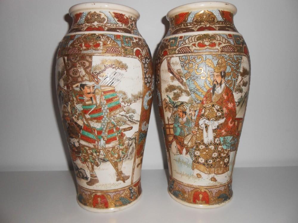 Pair Of Japanese Satsuma Vases Meiji Period Samurai 307807