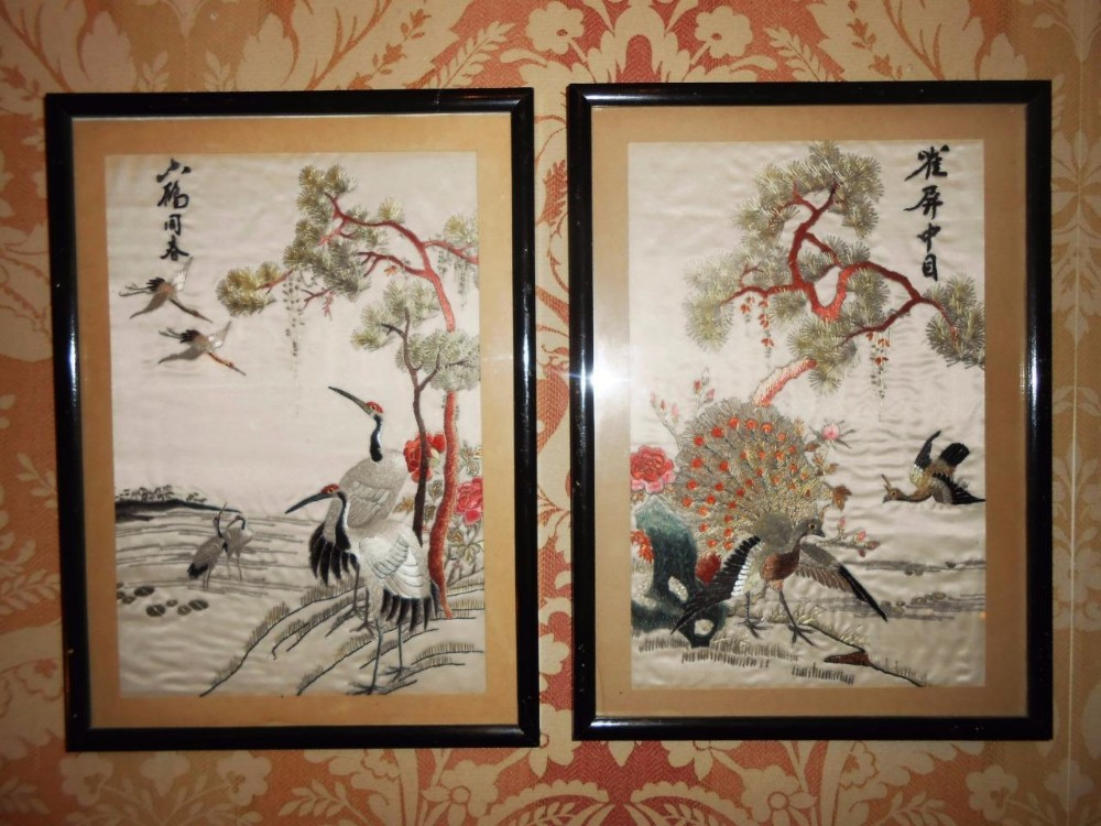 Pair Of Chinese Silk Embroidered Panels With Cranes And