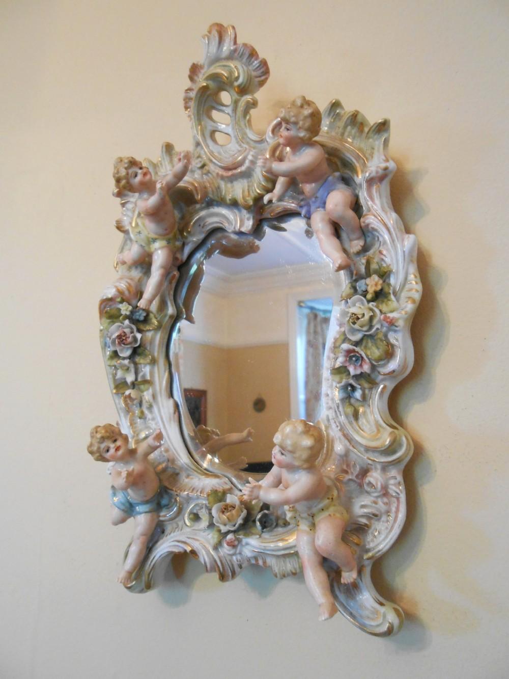 Pretty Victorian Porcelain Dresden Cherub Mirror C 1880