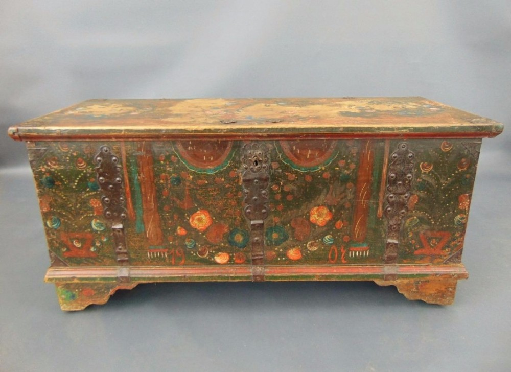 Antique Hand Painted Swedish Chest Coffer Coffee Table 435105