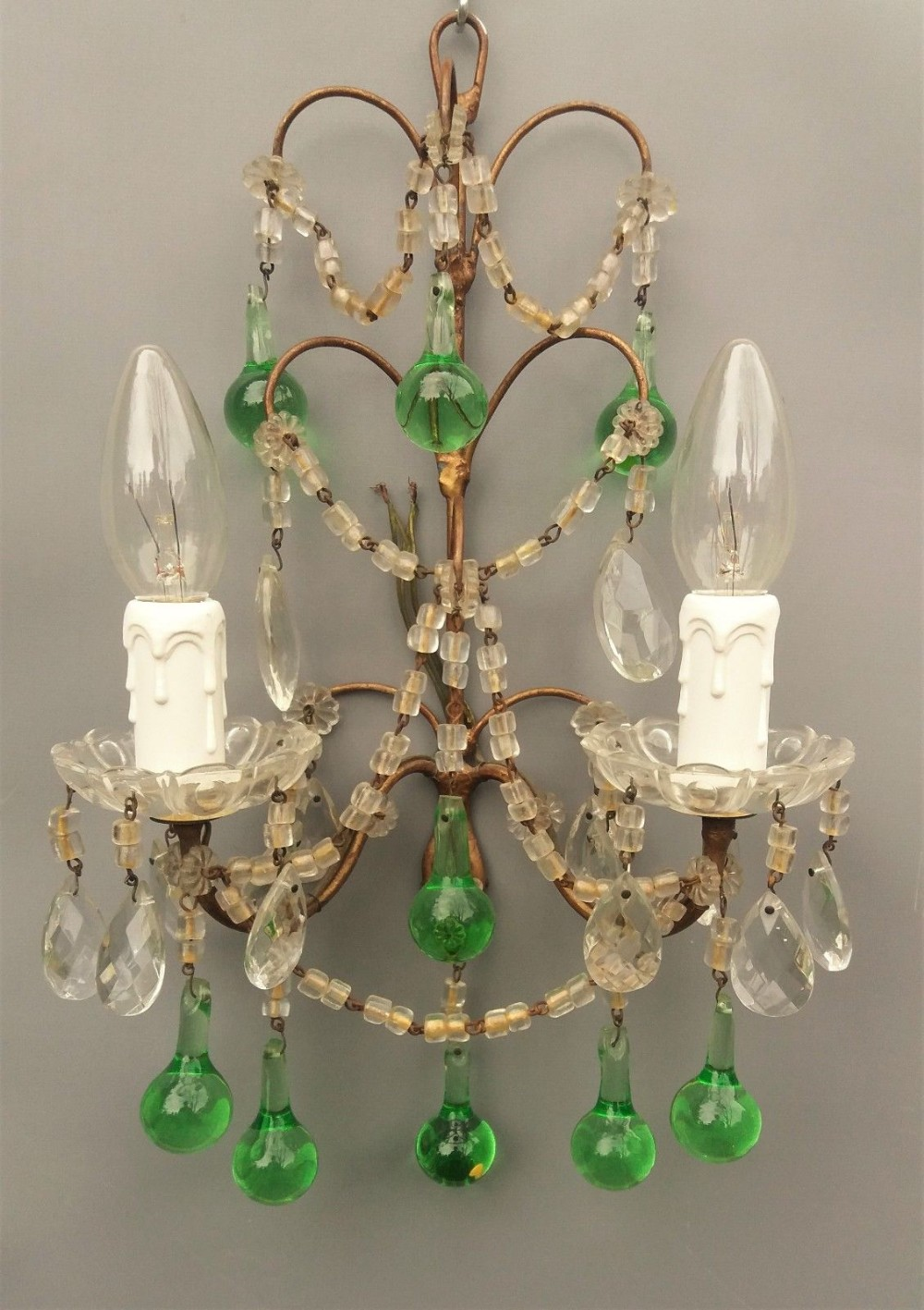 Pretty French Crystal And Coloured Glass Wall Sconce