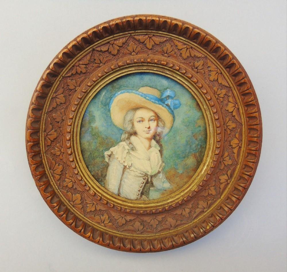 miniature watercolour portrait 19th century