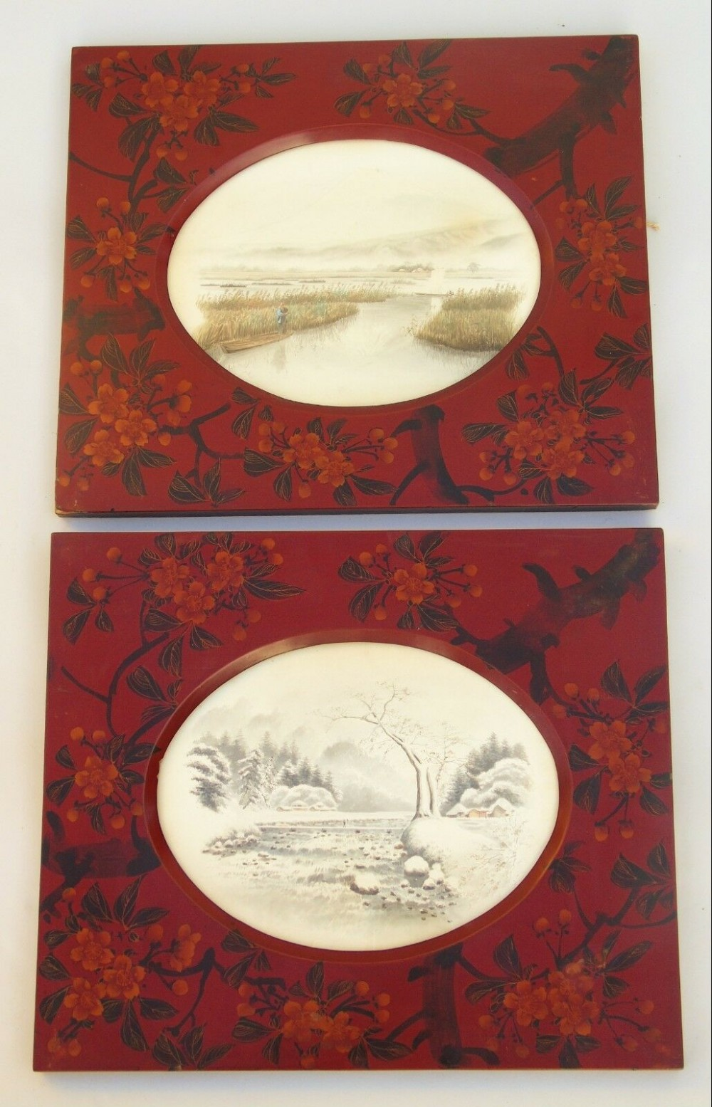 good pair of japanese watercolour paintings in red lacquer frames