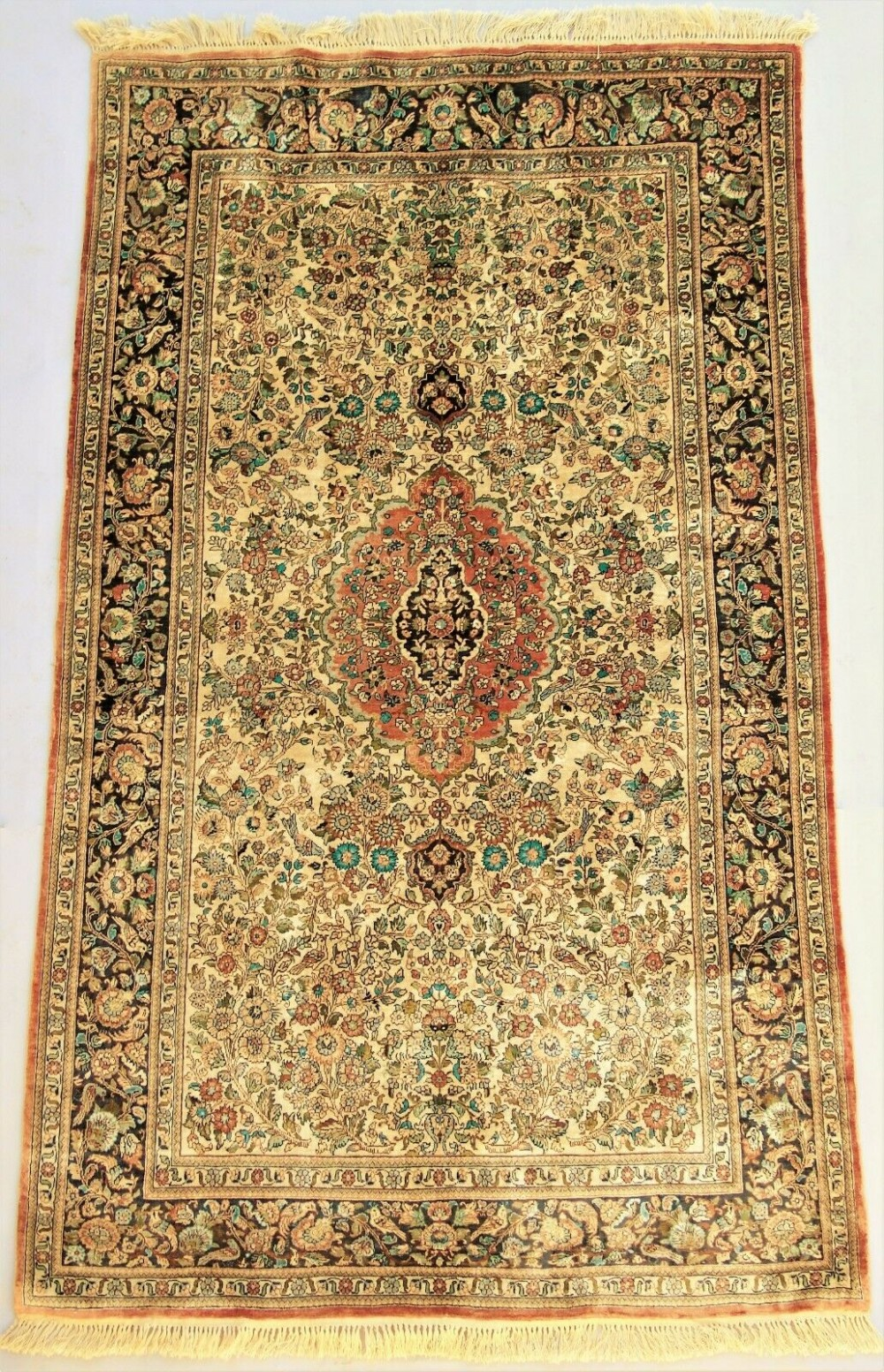antique kashmir silk carpet