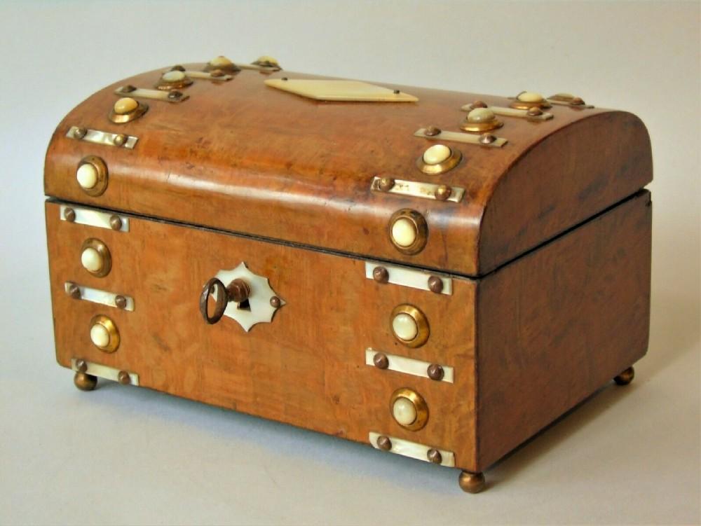 19th century figured walnut french dome top jewellery box