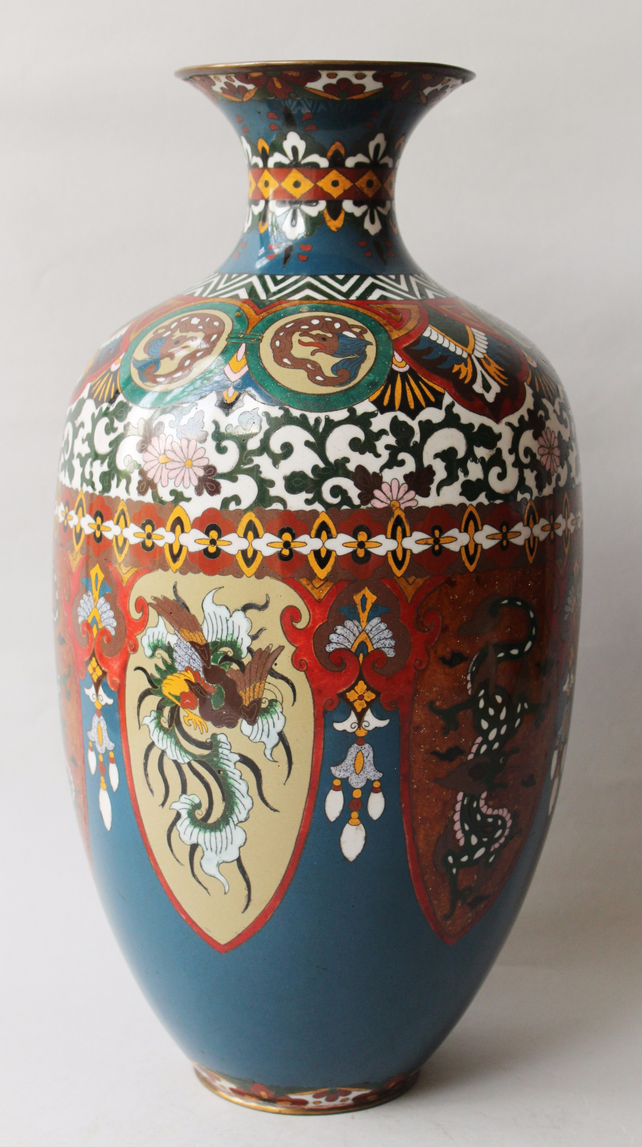 Very Large Antique Japanese Cloisonne Vase Dragon And Phoenix