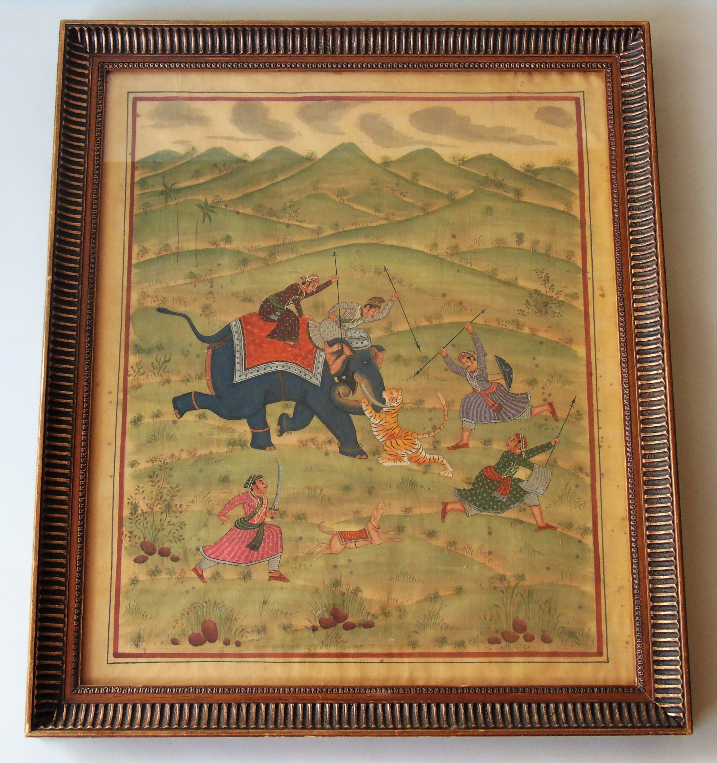 antique indian painting on silk elephant tiger hunt